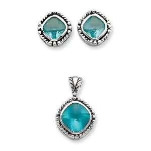 Silver Blue CZ Pendant & Earrings Set West Coast Jewelry Jewelry