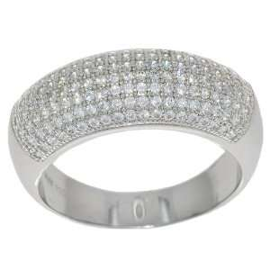 Size 8 925 Silver Micro Pave CZ Wide Wedding Band Ring Jewelry