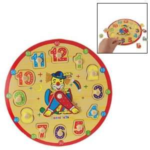 Clown Detail Children Educating Wood Wall Puzzel Clock Toys & Games