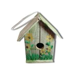 Wood Birdhouse in Green with Brown Eyed Susan Daisies