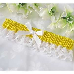 Canary Yellow Satin and Lace Wedding Garter