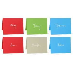 Set of 6 Blank Note Cards Enjoy, Today, Tomorrow, Love, Breathe, Now