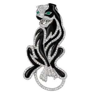 14k White Gold Diamond Black Onyx Panther Pin Pendant (.75