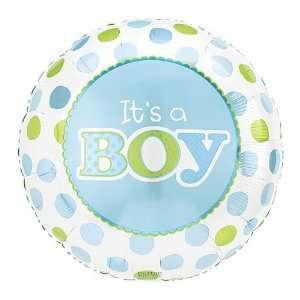ITS A BOY Blue Green Polka Dots Large 18 ROUND Mylar Foil Balloon