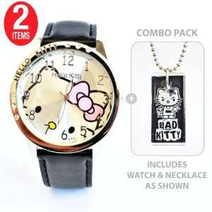 Hello Kitty Watch with Rectangle Bad Kitty Glass Tile Pendant Necklace
