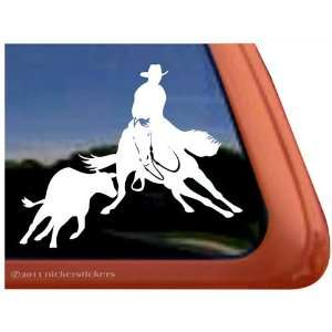 Cutting Horse Quarter Horse & Cow Vinyl Window Trailer
