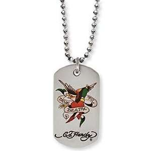 Ed Hardy Dog Tag Necklace True Til Death Stainless Steel