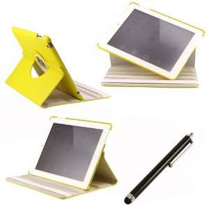 360 Degree Rotating Duel Layer Yellow Leather case with smart Cover