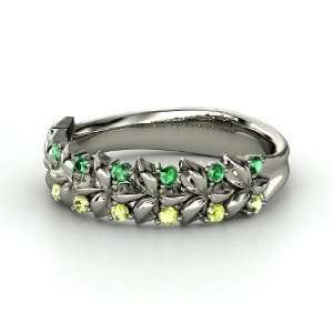 Laurel Ring, 14K White Gold Ring with Emerald & Peridot
