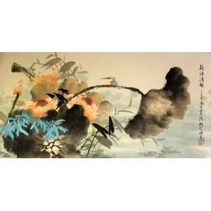 Flowers and Birds Series Lotus Pond, Original Chinese Painting By