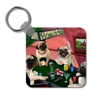 Pug Four Dogs Playing Poker Keychain: Home & Kitchen