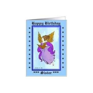 Happy Birthday Sister / Angel Singing  blue Card: Health