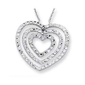 14K White Gold Heart Within Heart Royal Pave Necklace