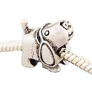 Hidden Gems (091) Silver Plated Dog Shape Charm, will fit