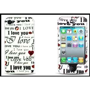 iPhone 4G 4S White with Design I Love You + Clear Screen Protector