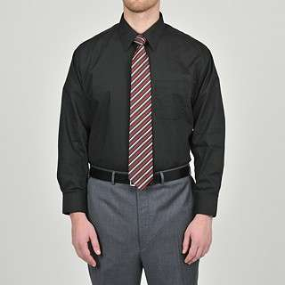 Alexander Julian Colours Mens Black Dress Shirt and Stripe Tie Set