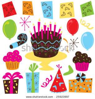 Birthday Party Supplies, including balloons, party favors, birthday