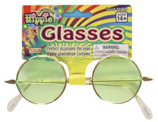 Hippie Tinted Glasses in Green   Hippie Costume Accessories
