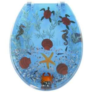 Seahorses and Turtles RESIN Novelty Toilet Seat with Metal Round