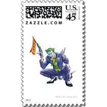 Joker with fake gun postage stamp by batman