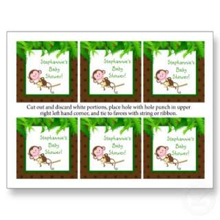 Favor Tags Monkey Swing Jungle Safari Zoo Animal Post Card from