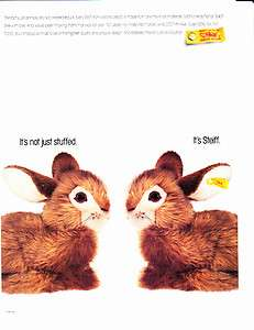 1992 STEIFF STUFFED BUNNY RABBIT Vintage Print Ad BUTTON GERMANY
