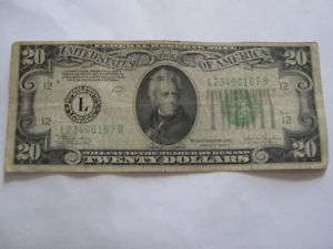 1934C Twenty Dollar Bill Federal Reserve Note L Series
