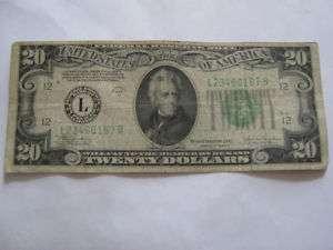 1934C Twenty Dollar Bill Federal Reserve Note L Series