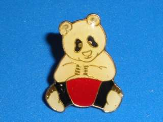 Panda BEAR Badge Hat Pin Metal Enamel Vintage 80s Cute Animal Pinback