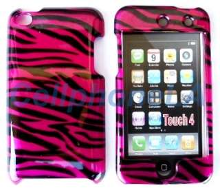Ipod Touch 4G 4th Gen Hot Pink Zebra Hard Case Cover