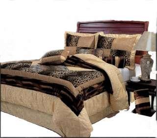 Brown Leopard Print Patchwork Comforter Set/ Bed in a bag
