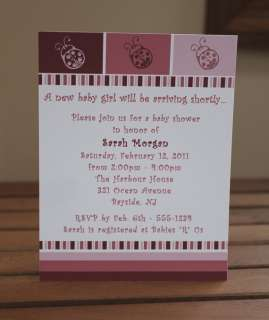 Baby Girl Ladybug Shower Invitations   50 Count