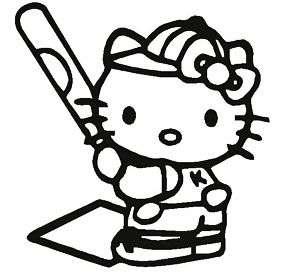 Hello Kitty Softball Baseball Car Decal Vinyl Sticker