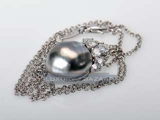 Henry Dunay Plat Necklace Black Pearl Diamond Necklace