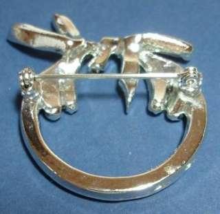 Crystal Rhinestone Vintage Circle Brooch Pin Baguettes