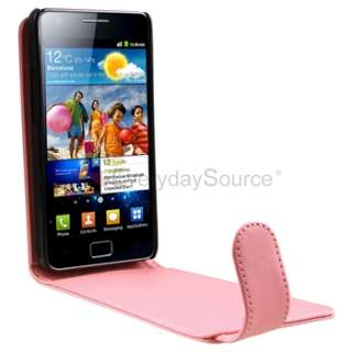 Pink Leather Skin Case+Car Charger+Privacy LCD For Samsung Galaxy S II