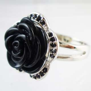 Black rose Silver 18K gold plated cocktail ring R112B