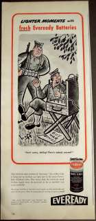 1944 Eveready No 6 Dry Cell Batteries military art Ad