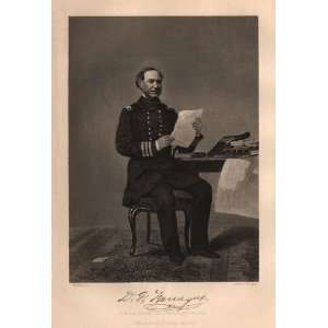 1862 Antique Engraving of Admiral David G. Farragut by Alonzo Chappel