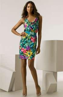 Blumarine Polynesian Print Silk Jersey Dress