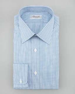 N1N2E Charvet Check Dress Shirt, Blue/Green