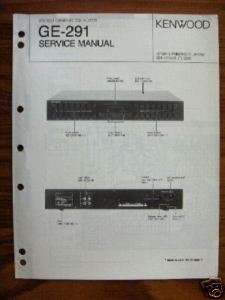 KENWOOD GE 291 GRAPHIC EQUALIZER SERVICE MANUAL
