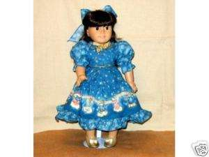 American Girl Doll Clothes Blue Border Holiday Dress and Gold Shoes