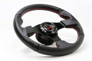 Red Stitch Leather Steering Wheel+HUB+Red Button Honda Accord