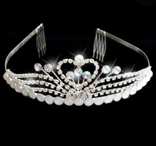 Rhinestone Crown Comb Wedding Bridal Tiara Headband Silver Plated Hot