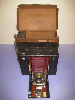 Vintage Red Bellows Kodak No 4 Folding Film Camera & Case