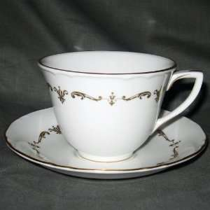 Royal Worcester Gold Chantilly Cup & Saucer Set Footed