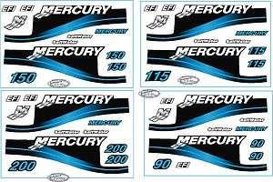 Mercury Outboard 115 (90,150 &200 also) Decal Kit, Blue  Saltwater