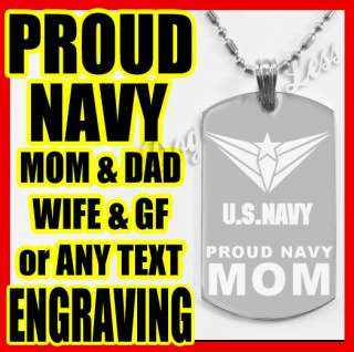 PROUD US ARMY NAVY AIR FORCE MOM / DAD DOGTAG PENDANT
