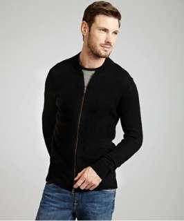 Autumn Cashmere black cashmere zip front mock neck sweater